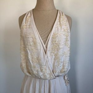 H&M Long Beaded Cream Dress